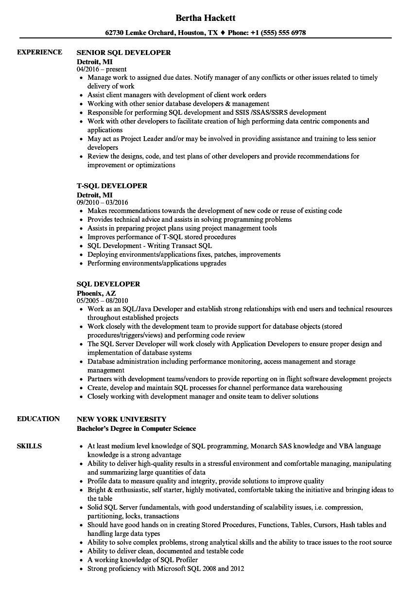 sql developer resume samples velvet jobs