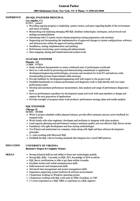 sql engineer resume samples