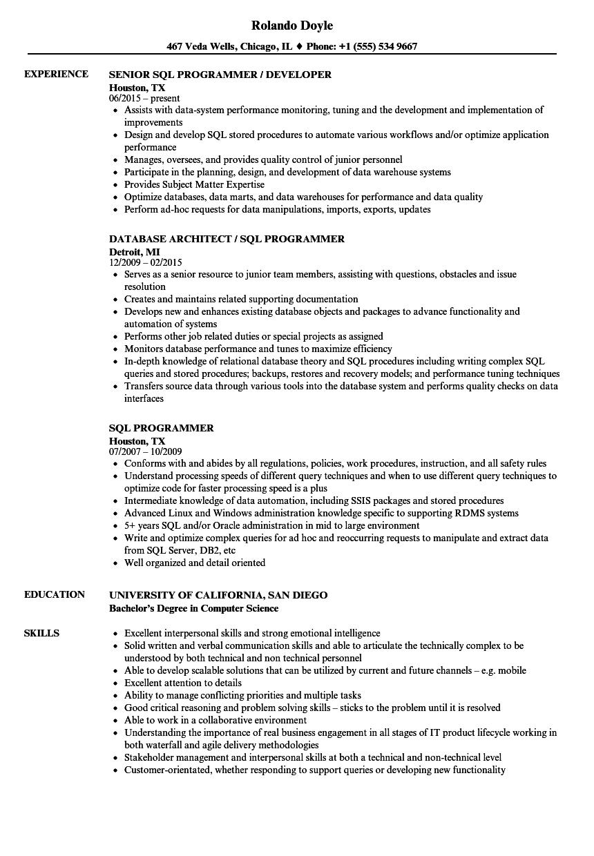 sql programmer resume samples