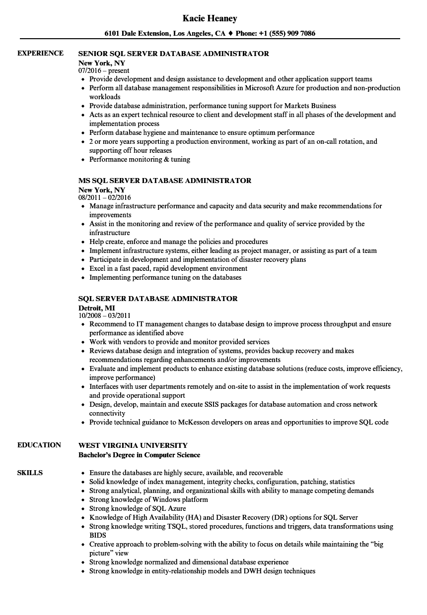 SQL Server Database Administrator Resume Samples | Velvet Jobs