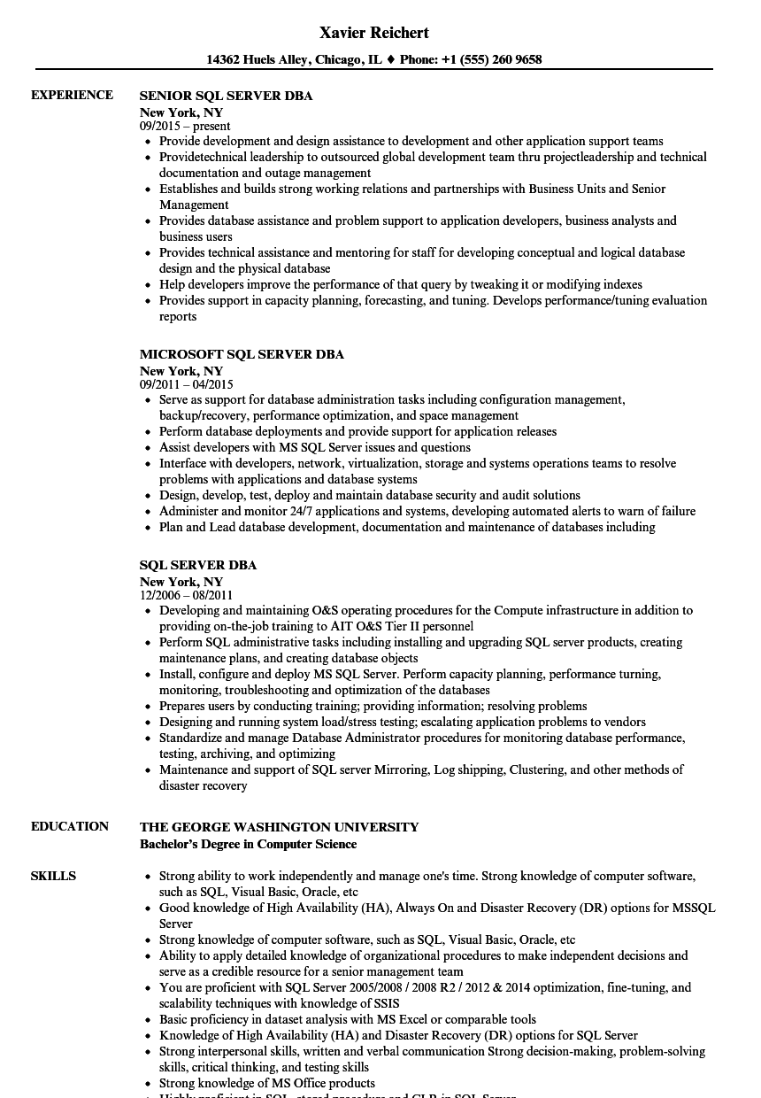 Velvet Jobs  Sql Server Dba Resume