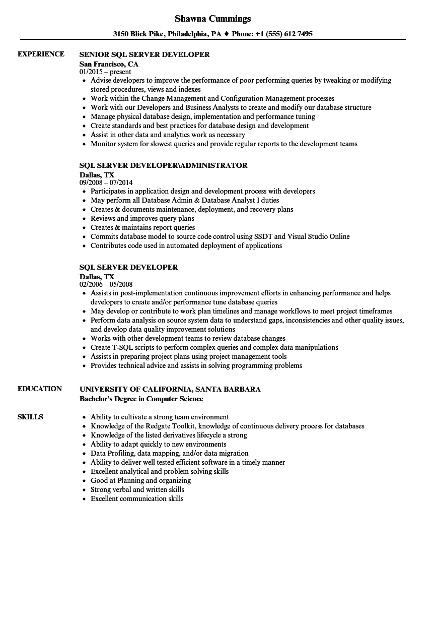 download sql server developer resume sample as image file - Problem Solving Skills Resume