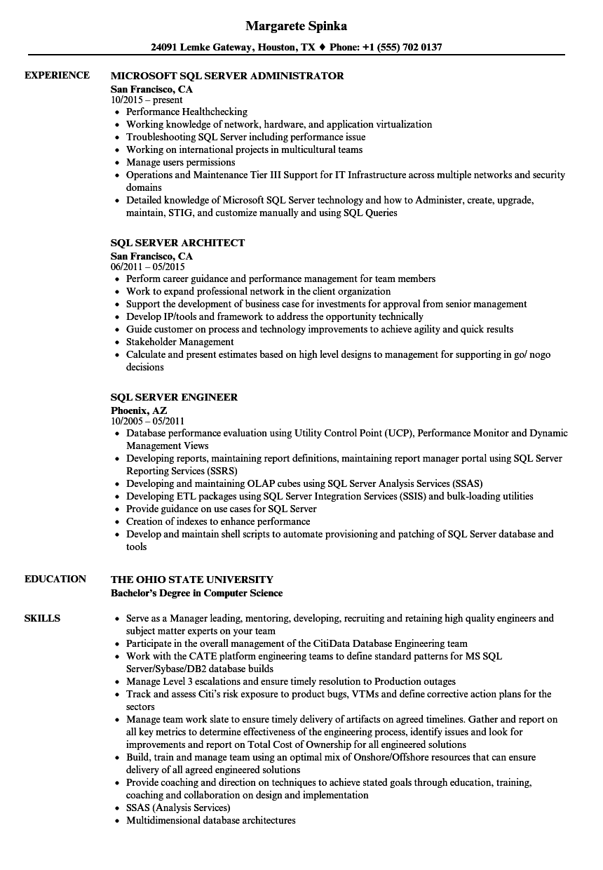 SQL Server Resume Samples | Velvet Jobs