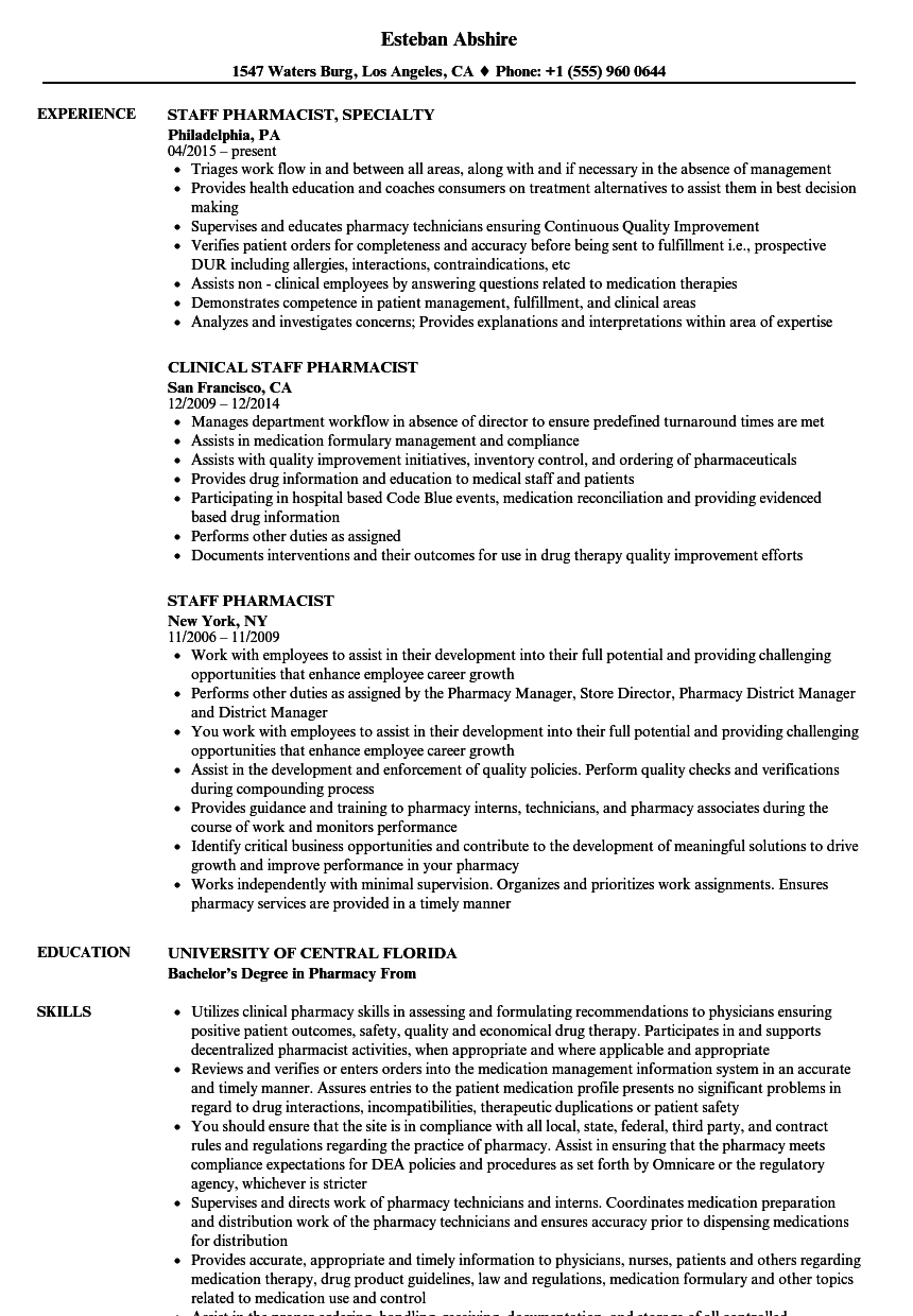 staff pharmacist resume samples velvet jobs