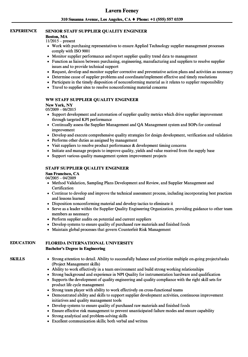 Staff Supplier Quality Engineer Resume Samples | Velvet Jobs