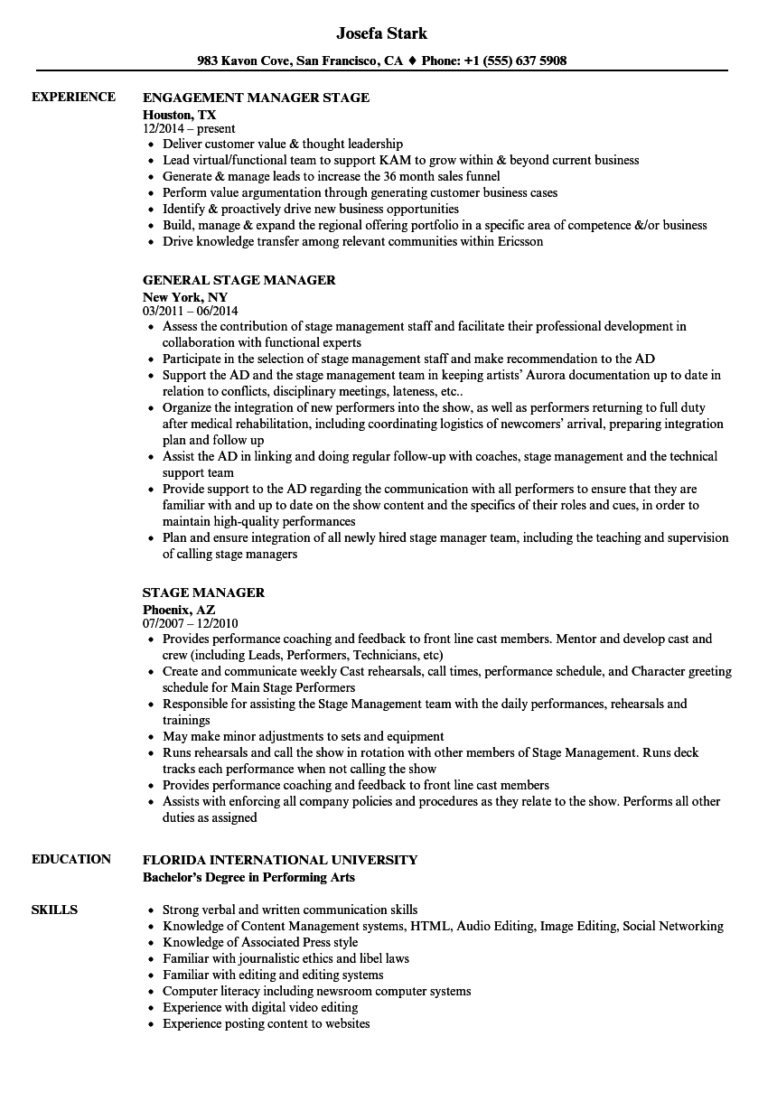 Stage Manager Resume Samples | Velvet Jobs