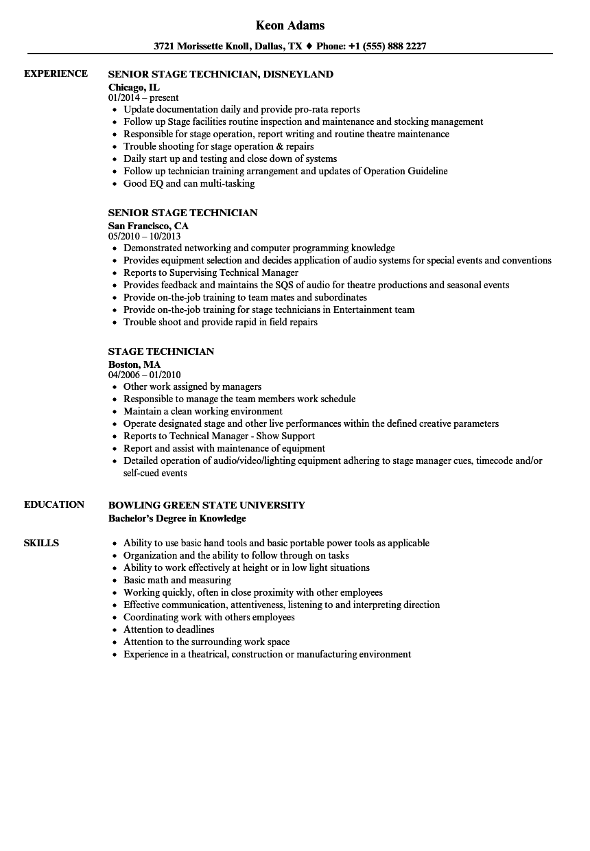 Stage Technician Resume Samples | Velvet Jobs