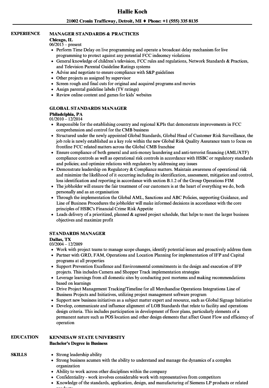 standards manager resume samples