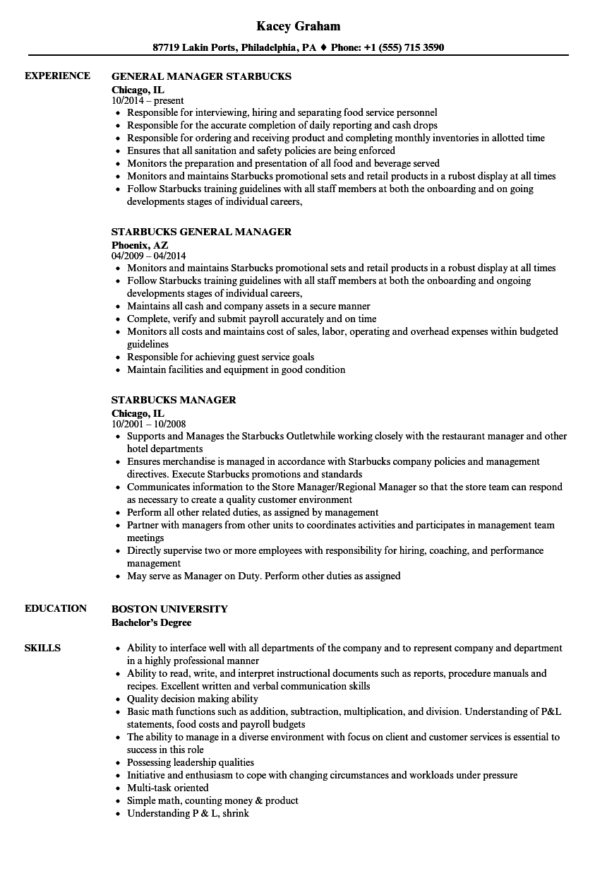 Starbucks Manager Resume Samples | Velvet Jobs