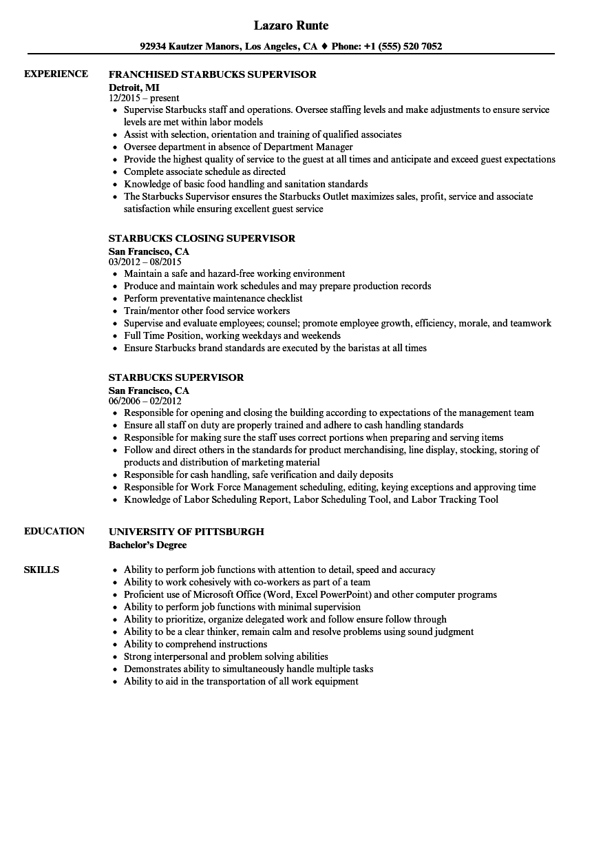 Supervisor Resume Skills Starbucks Supervisor Resume Samples  Velvet Jobs
