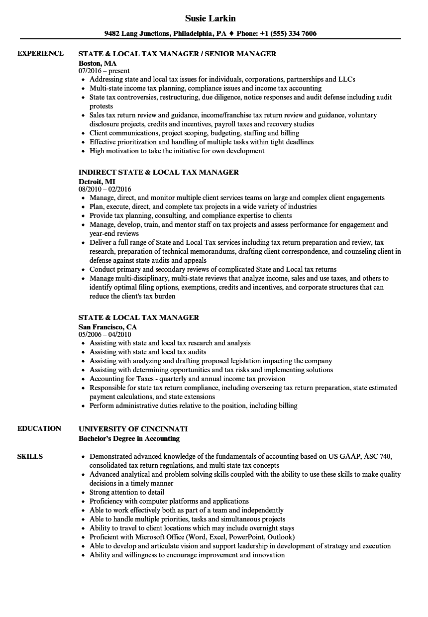 Download State Local Tax Manager Resume Sample As Image File