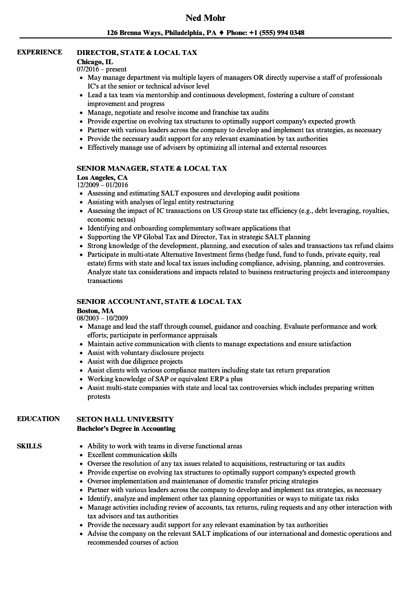 state  u0026 local tax resume samples