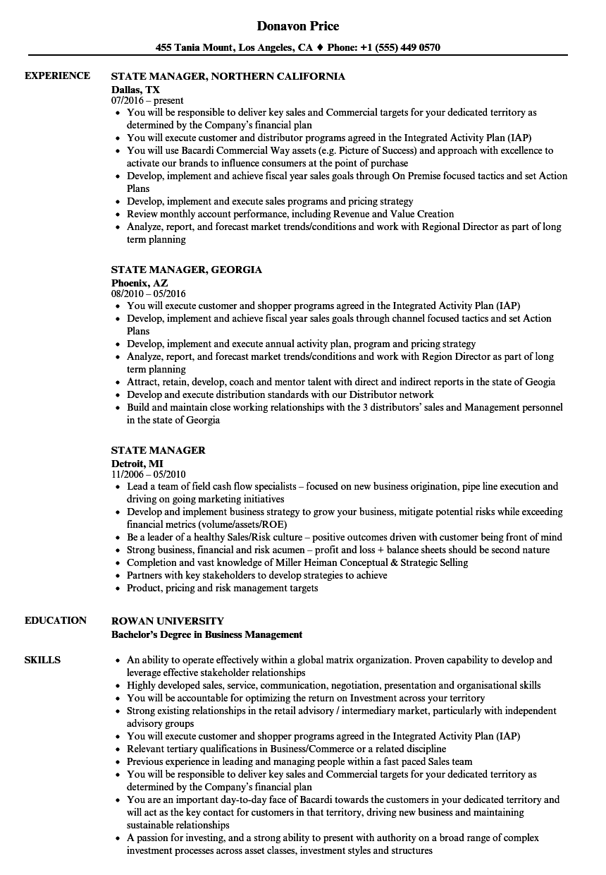 state manager resume samples