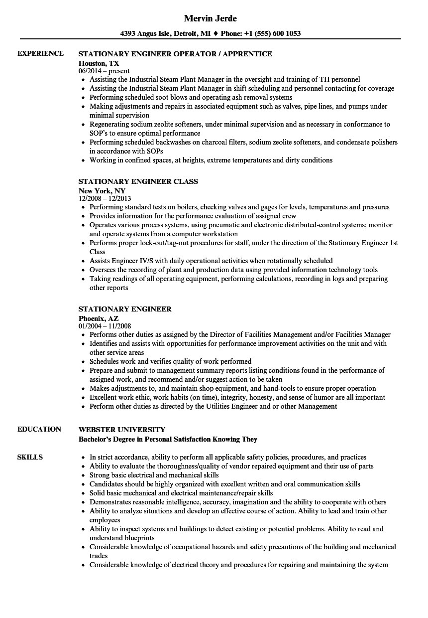 Stationary Engineer Resume Samples  Velvet Jobs