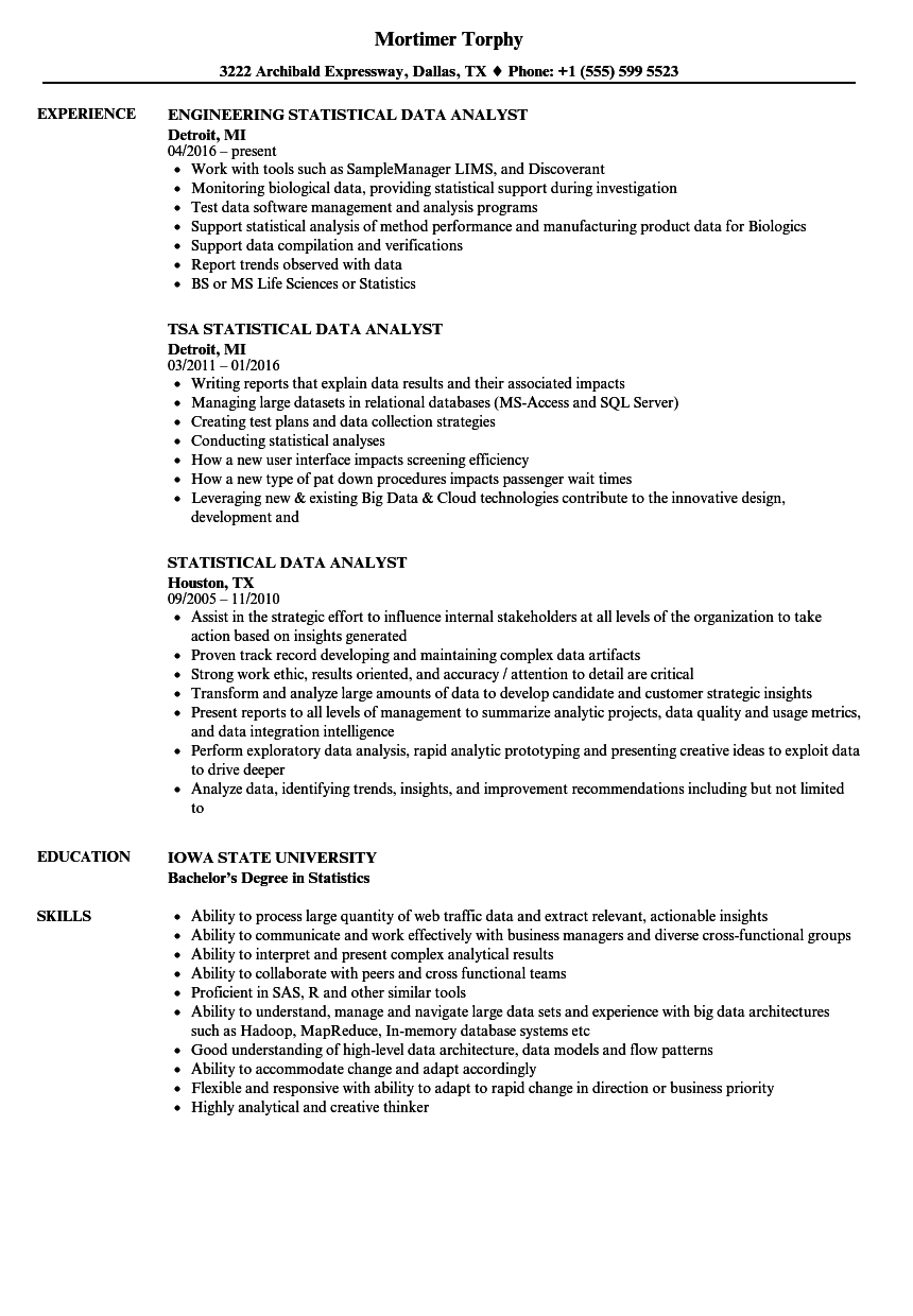 merveilleux Download Statistical Data Analyst Resume Sample as Image file