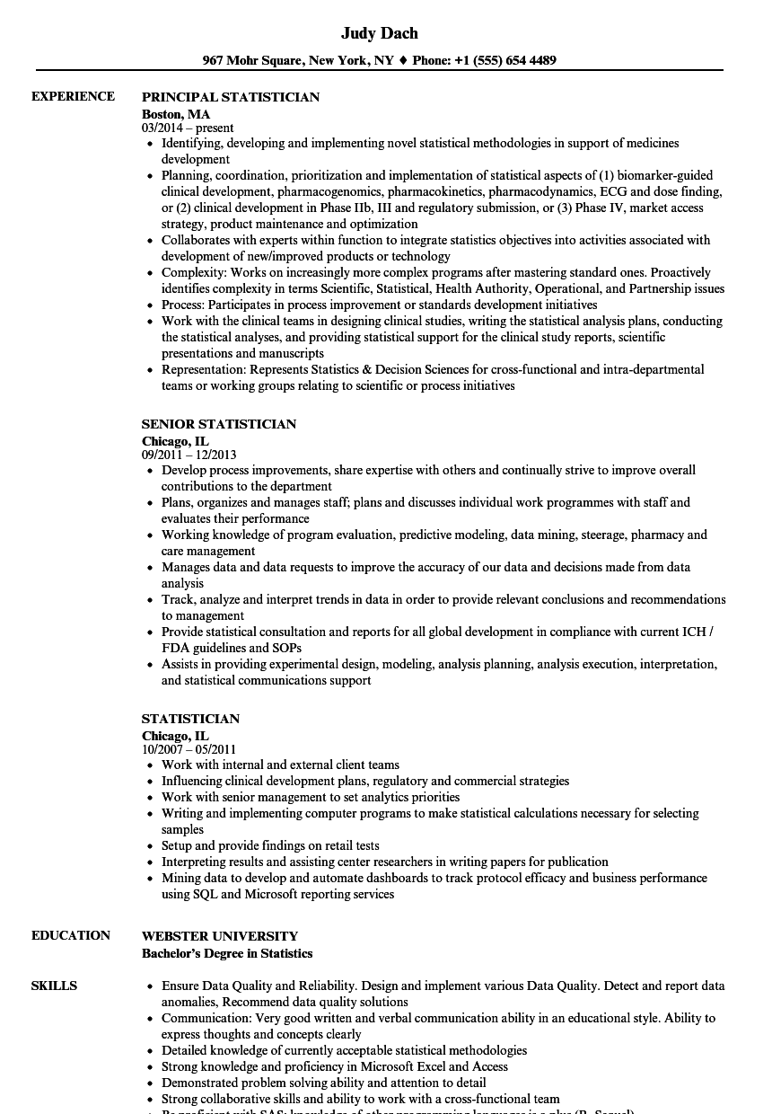 statistician resume samples