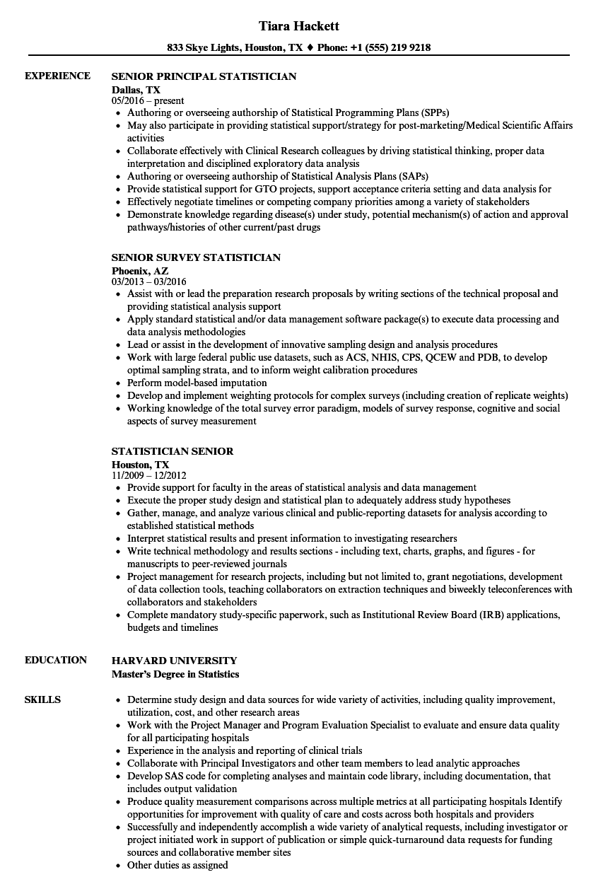 statistician senior resume samples