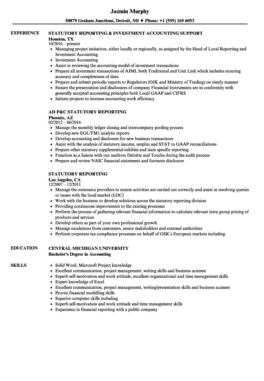 Statutory Reporting Resume Samples | Velvet Jobs
