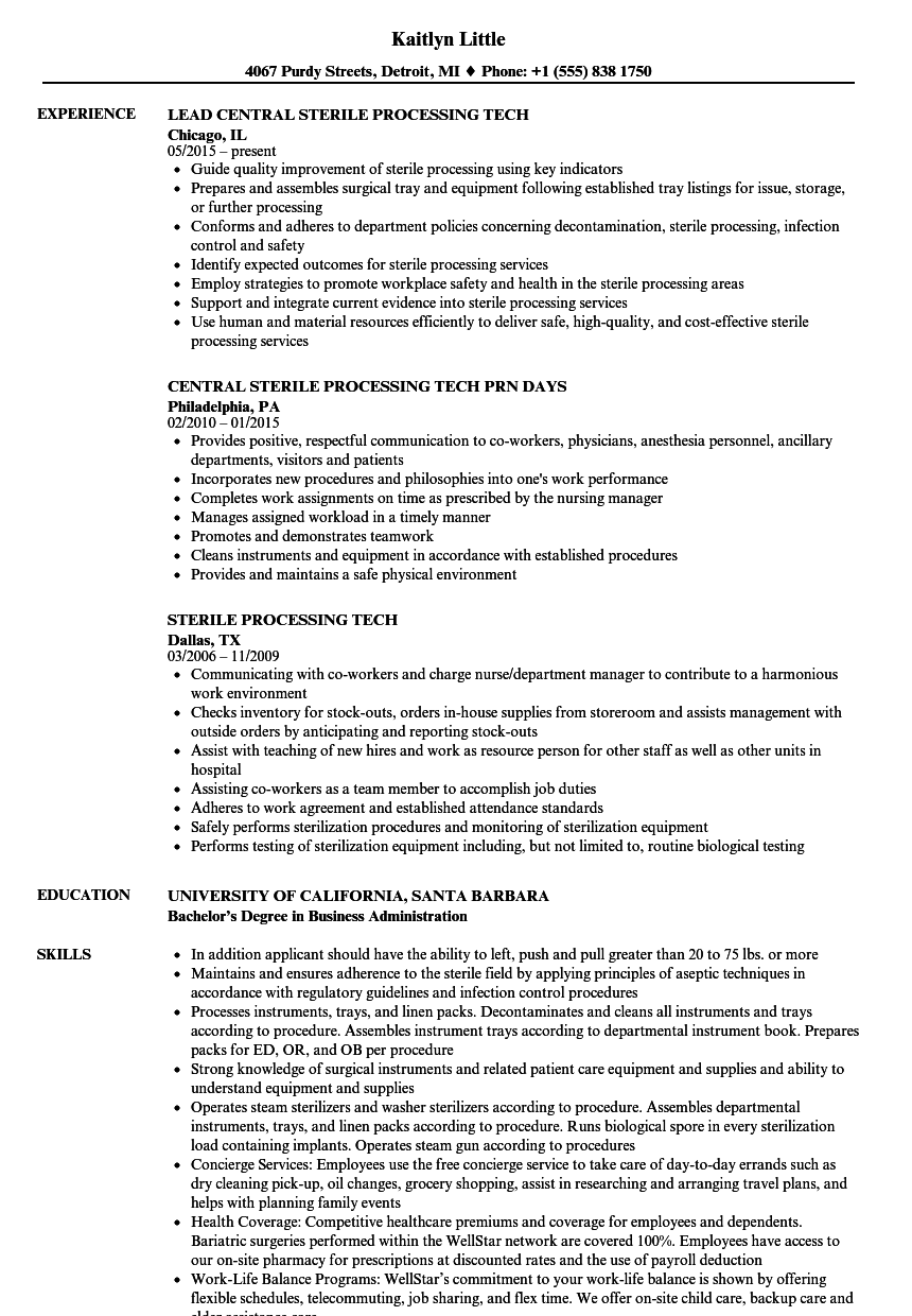 sterile processing tech resume samples velvet jobs