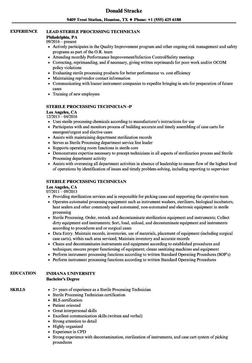 sterile processing technician resume samples velvet jobs