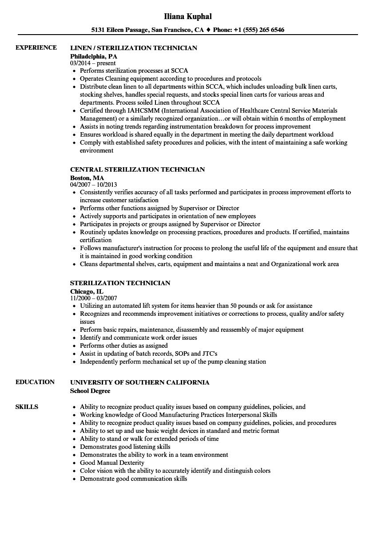 sterilization technician resume samples