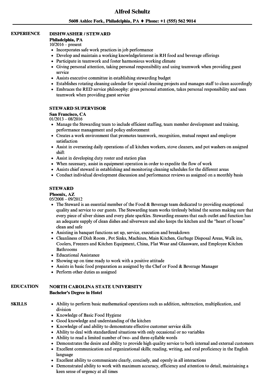 Steward Resume Samples | Velvet Jobs