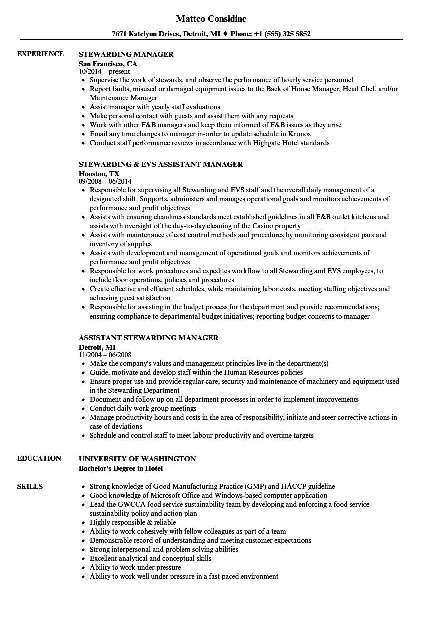 Stewarding Manager Resume Samples | Velvet Jobs