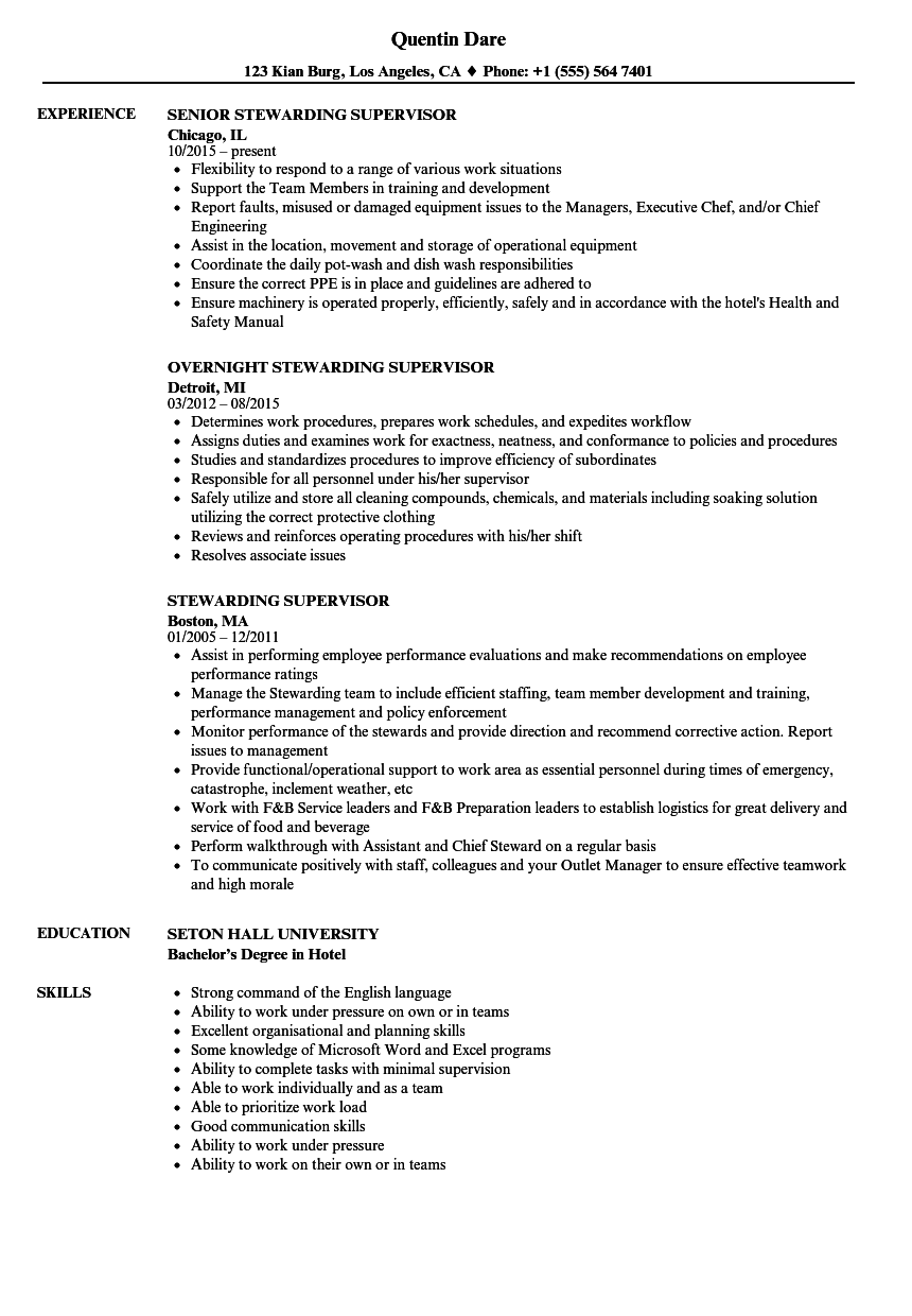 Stewarding Supervisor Resume Samples | Velvet Jobs