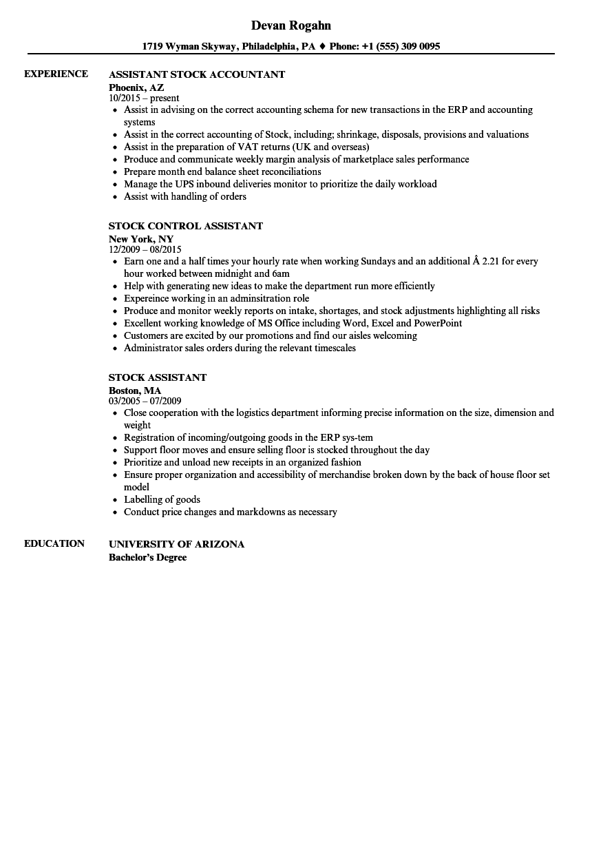 download stock assistant resume sample as image file - Stock Accountant Sample Resume