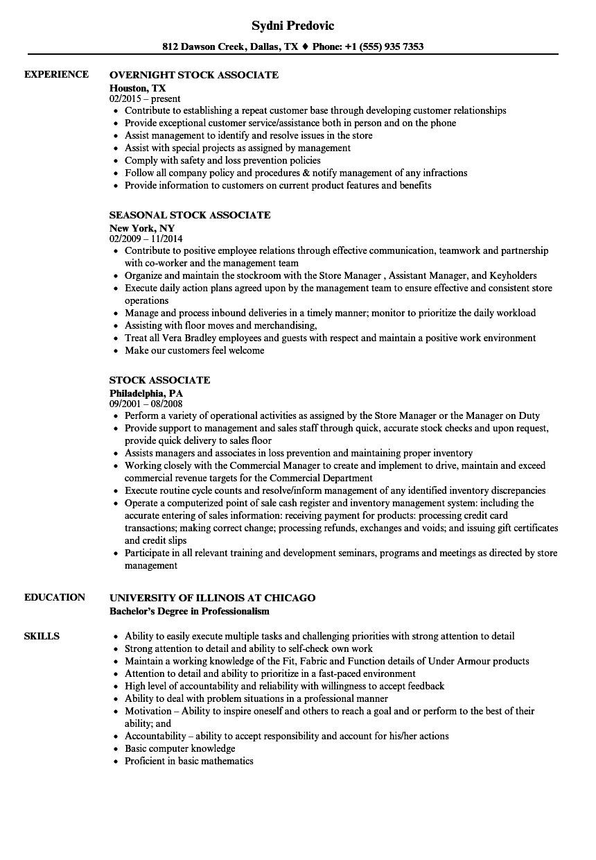 stock associate resume samples velvet jobs