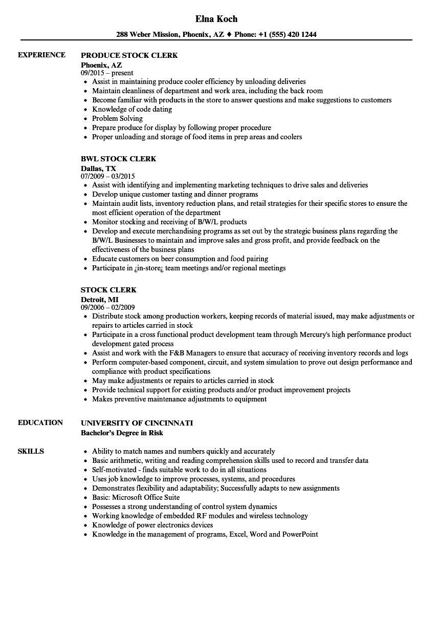 Delightful Download Stock Clerk Resume Sample As Image File Intended For Stock Clerk Resume