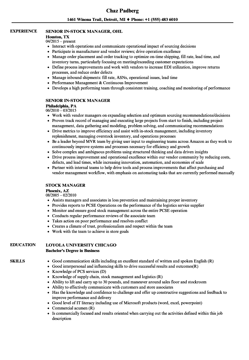 stock manager resume samples