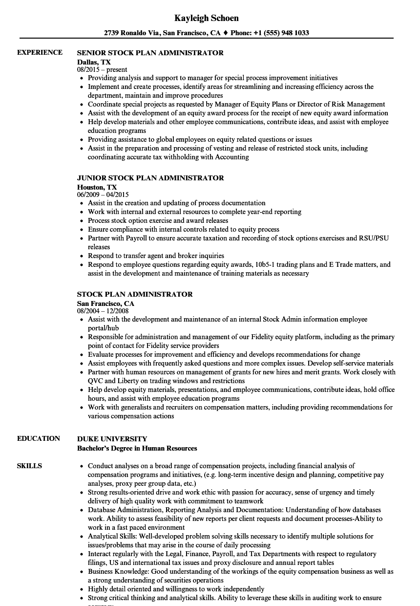 stock plan administrator resume samples