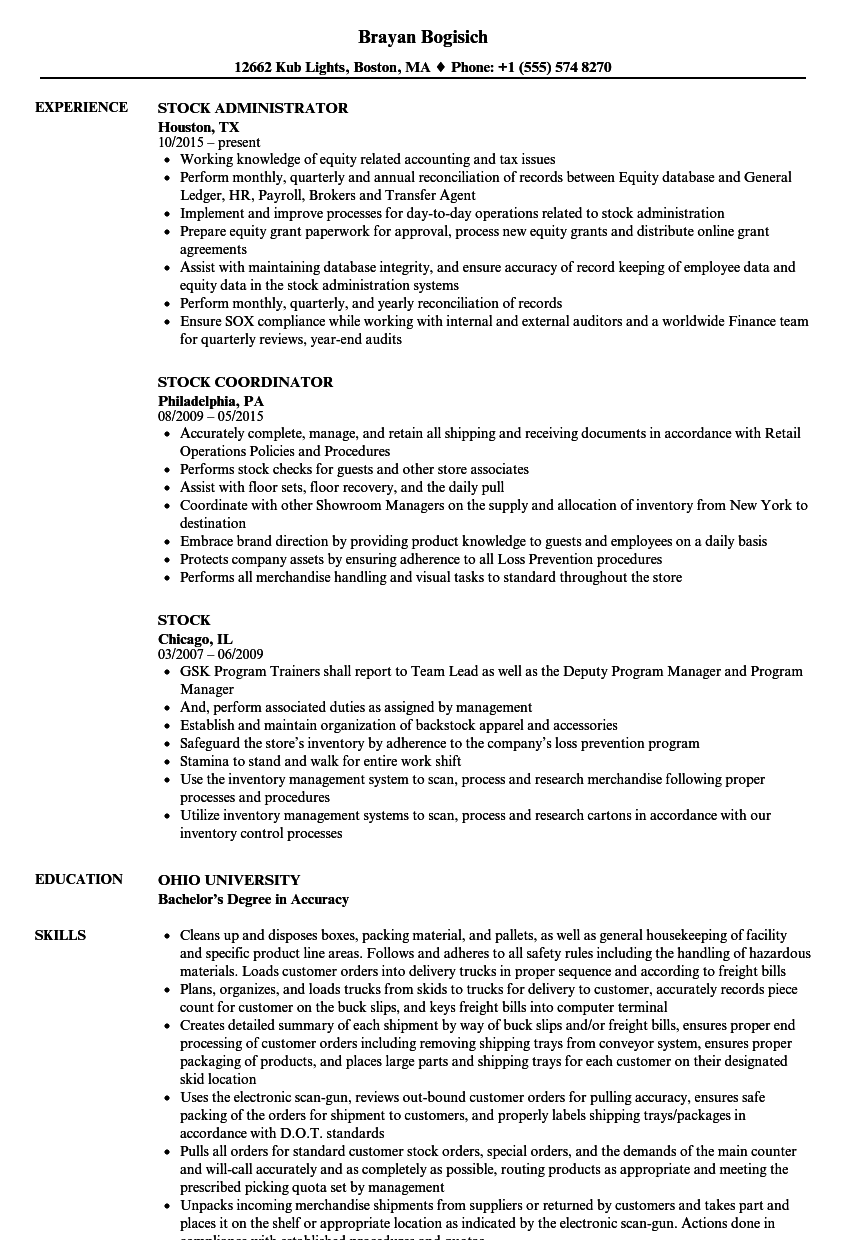 Stock Resume Samples Velvet Jobs
