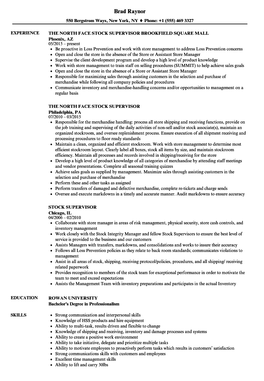 stock supervisor resume samples