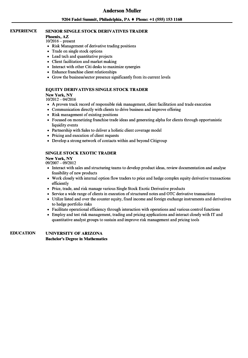 stock trader resume samples