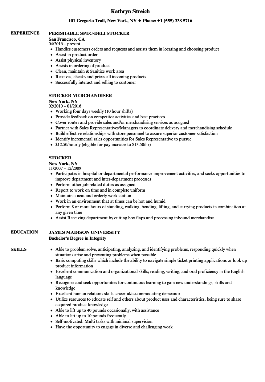 Download Stocker Resume Sample As Image File  Stocker Resume