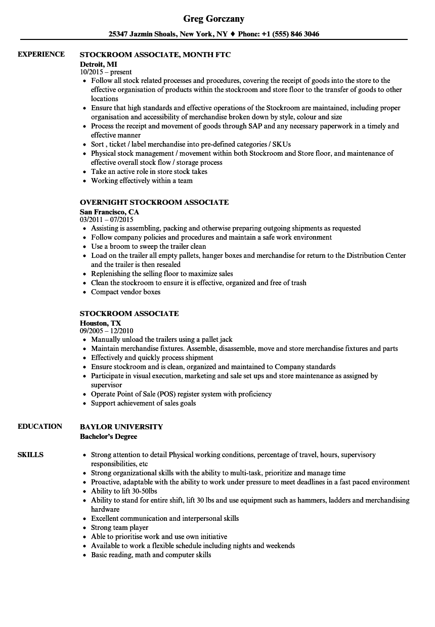 Stockroom Associate Resume Samples Velvet Jobs