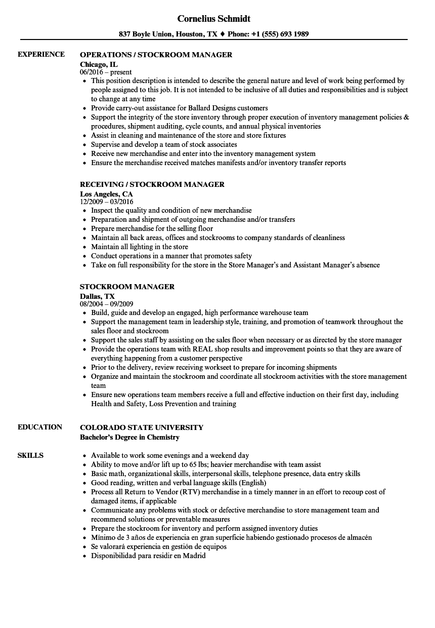 stockroom manager resume samples