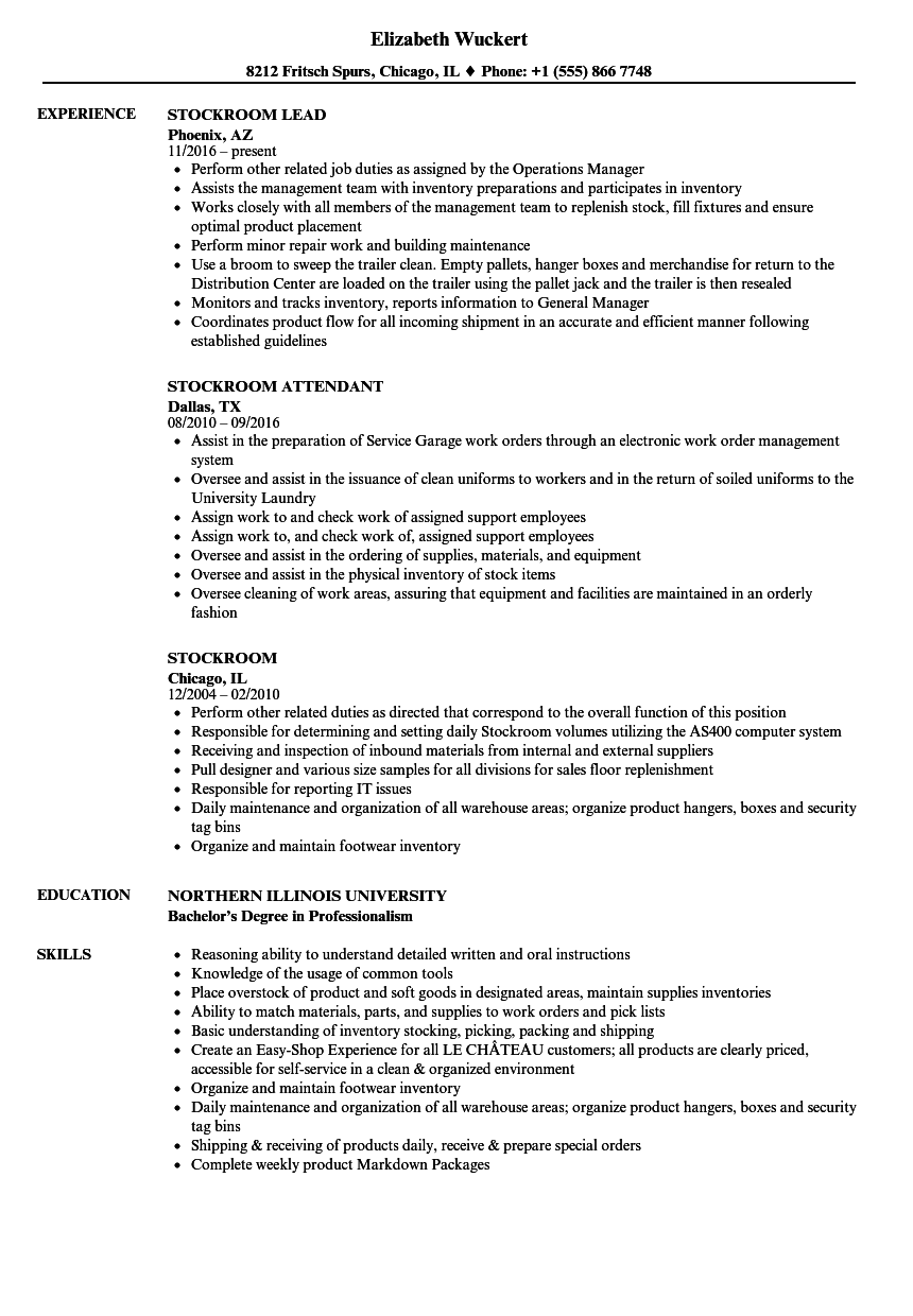 Stockroom Resume Samples | Velvet Jobs