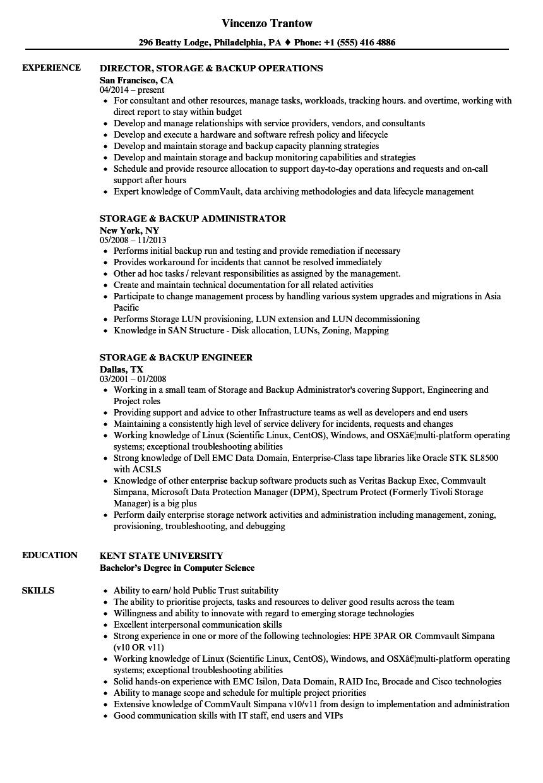 Storage backup resume samples velvet jobs related job titles xflitez Choice Image