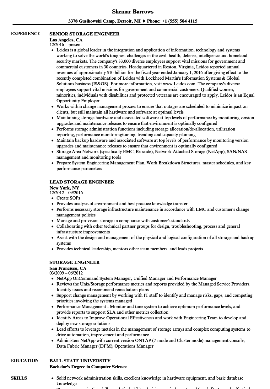 Storage Engineer Resume Samples | Velvet Jobs