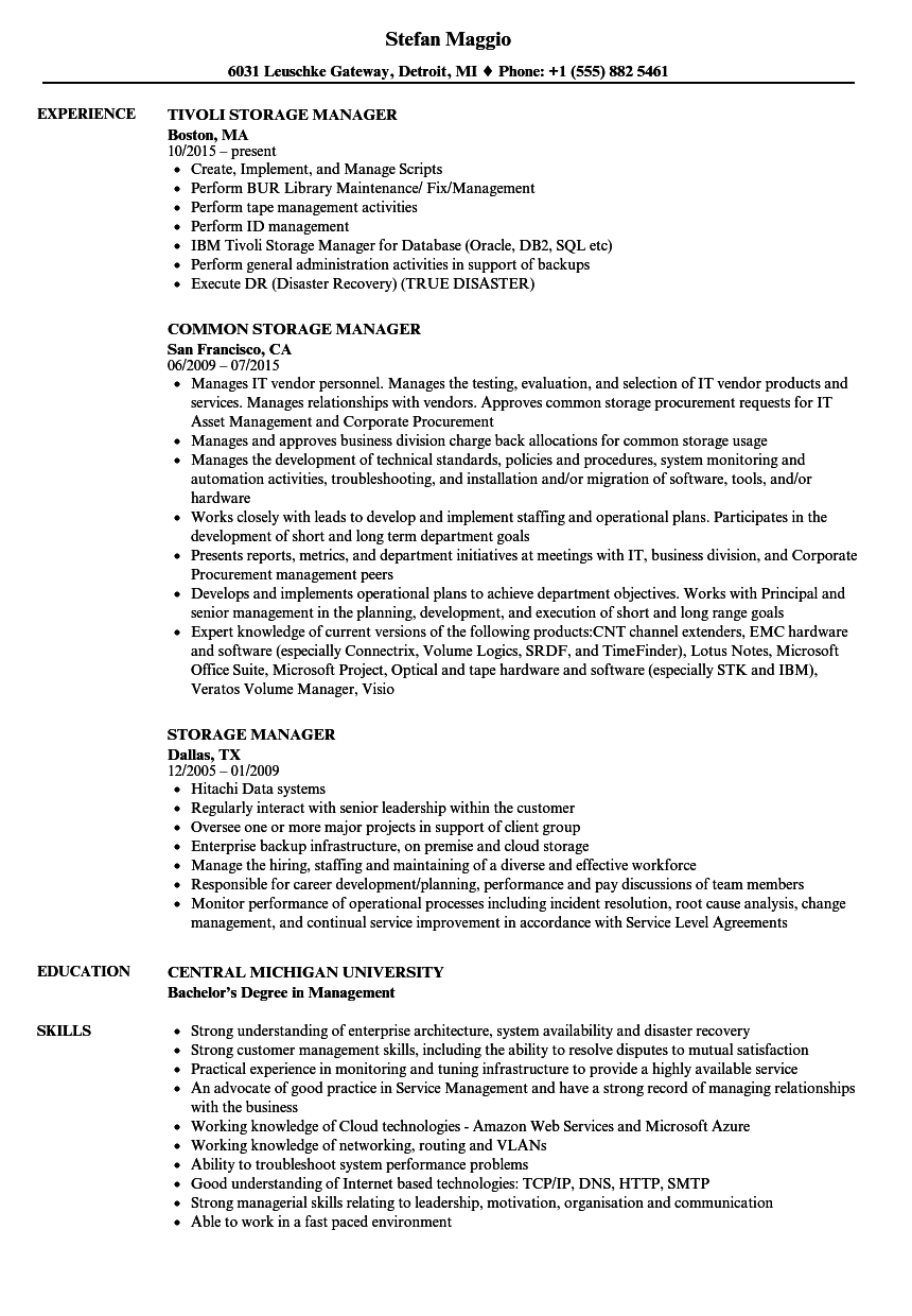 storage manager resume samples