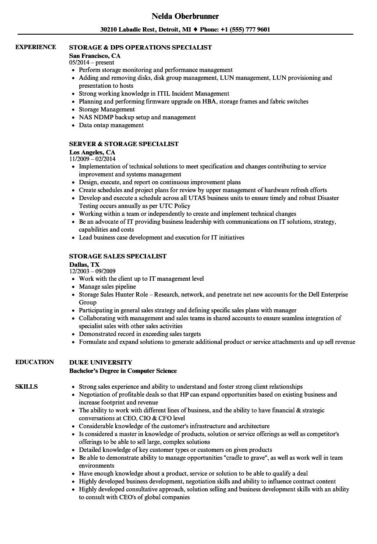 storage specialist resume samples