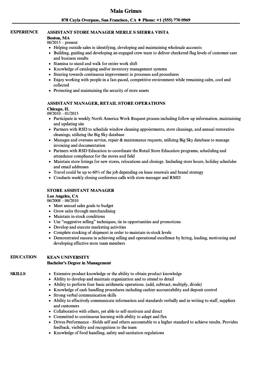 store assistant manager resume samples