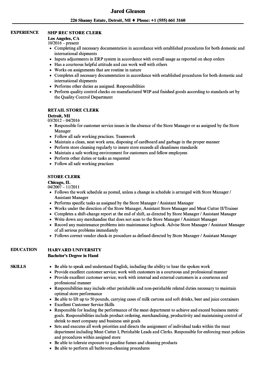 Store Clerk Resume Samples Velvet Jobs