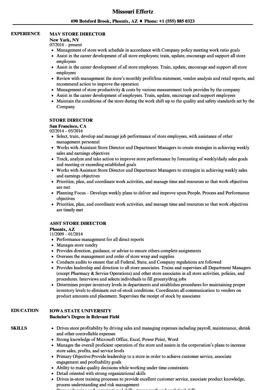 Store Director Resume Samples | Velvet Jobs