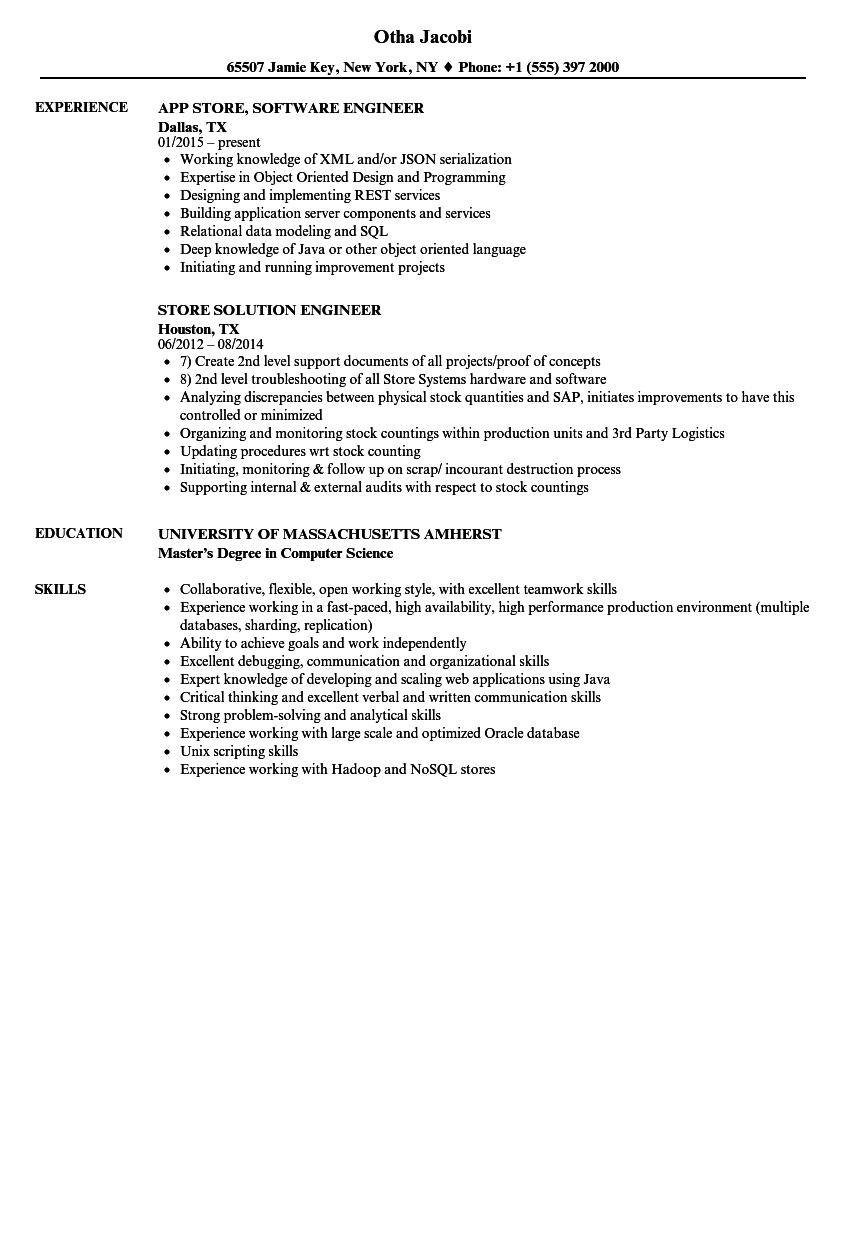 Store Engineer Resume Samples Velvet Jobs