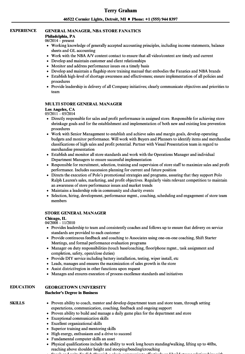 store general manager resume samples