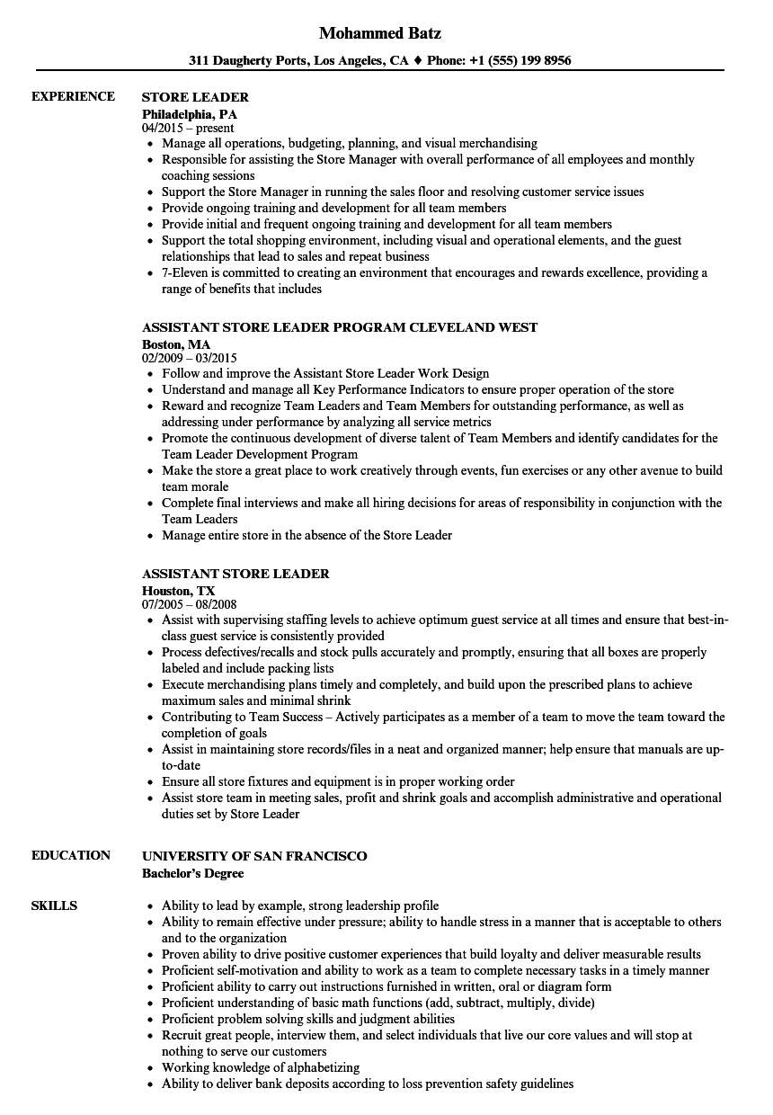 Download Store Leader Resume Sample As Image File